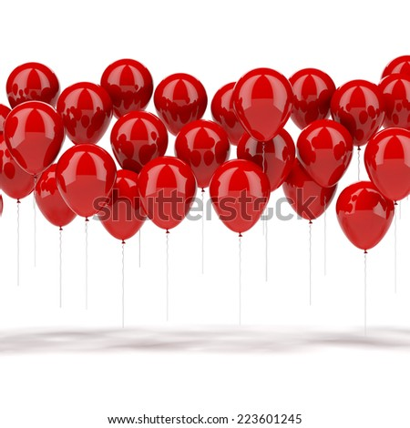 red balloons  - stock photo