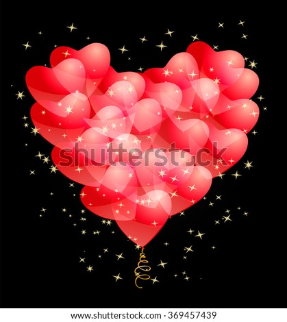 red balloons and stars making a heart shape. abstract design template on love, romance theme.. raster version - stock photo