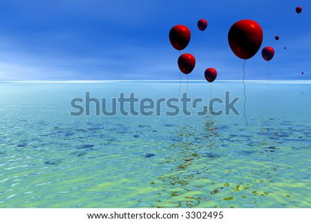 Red balloons drifting over calm blue sea - stock photo
