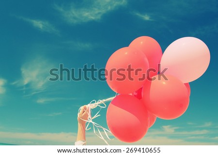 red balloons on the background of blue sky - stock photo