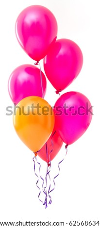 Red balloons on white background - stock photo