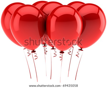 Red balloons seven party birthday celebrate holiday decoration positive emotion abstract anniversary graduation jubilee greeting card design element blank. 3d render isolated on white background - stock photo