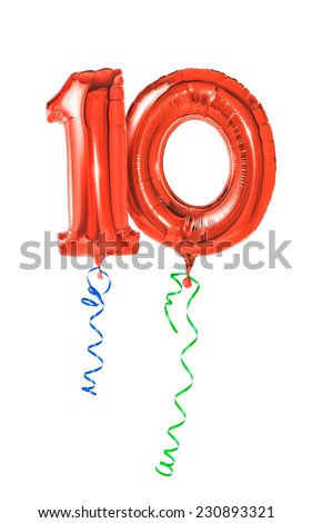 Red balloons with ribbon - Number 10 - stock photo