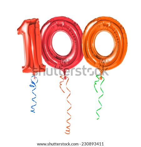 Red balloons with ribbon - Number 100 - stock photo