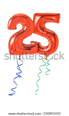 Red balloons with ribbon - Number 25 - stock photo