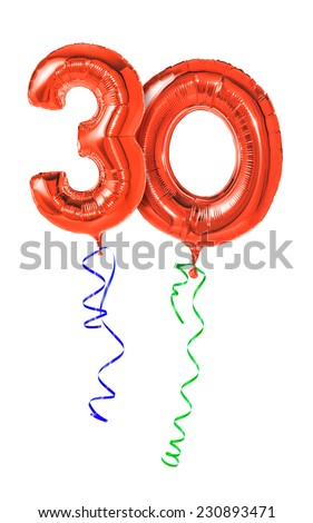Red balloons with ribbon - Number 30 - stock photo