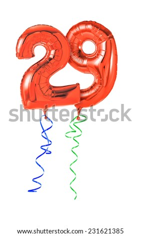 Red balloons with ribbon - Number 29 - stock photo