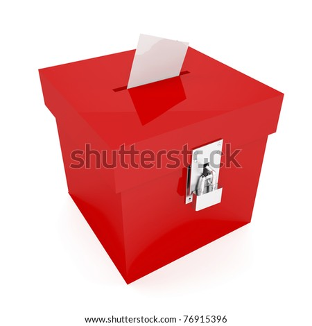 Red ballot box with inserted vote - stock photo