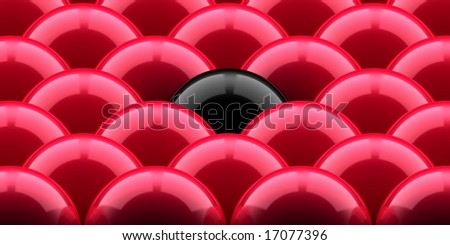 red balls and the black one - stock photo