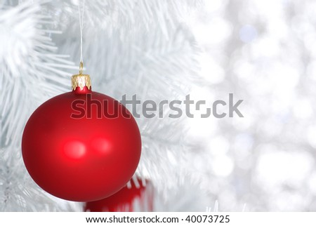 Red balls - Christmas decoration on silver bokeh