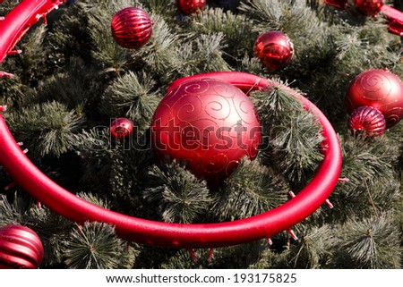 Red balls on Christmas tree - stock photo