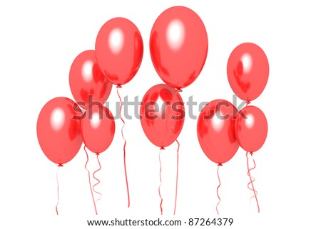 red baloons on white background - stock photo