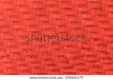 Red Bamboo Weave matting background texture,  - stock photo