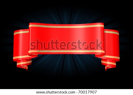 Red banner. Isolated - stock photo