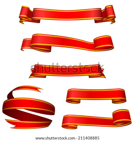 Red banners isolated on black background. - stock photo