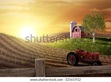 Red barn and tractor on a farm with the sun rising over the horizon - stock photo