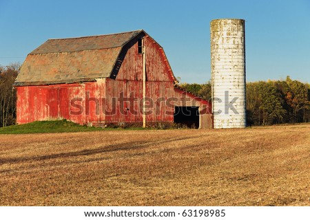 Red Barn and White Silo A red barn with peeling paint and a white silo with a wheat colored harvested field in the foreground set against a cloudless blue sky in autumn. - stock photo