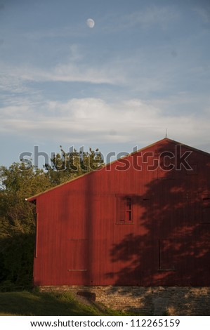 Red Barn at Blue Rock Heritage Center, Lancaster County, Pa. - stock photo