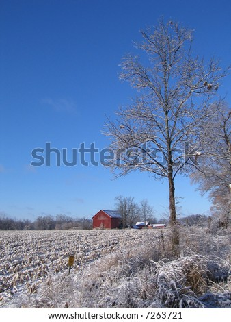 Red Barn in Dexter, Michigan during Winter