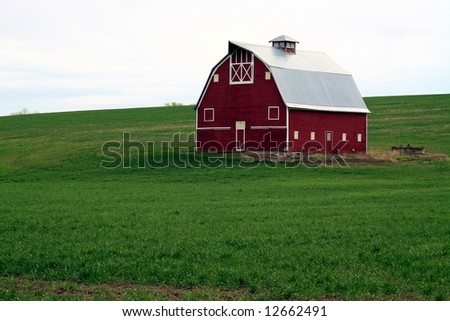 Red Barn in Green Field - stock photo