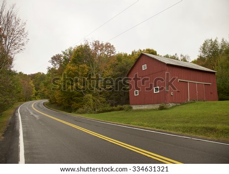 Red Barn in the countryside and Autumn foliage, USA