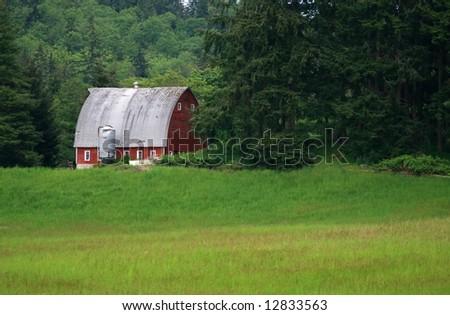 Red Barn nestled in trees - stock photo