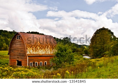 Red Barn with Blue Sky - stock photo