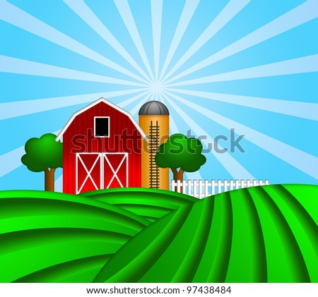 Red Barn with Grain Elevator Silo and Trees with Green Crop Pastures Illustration - stock photo