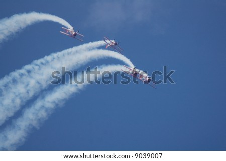 Red Barons in Formation at Oshkosh - stock photo