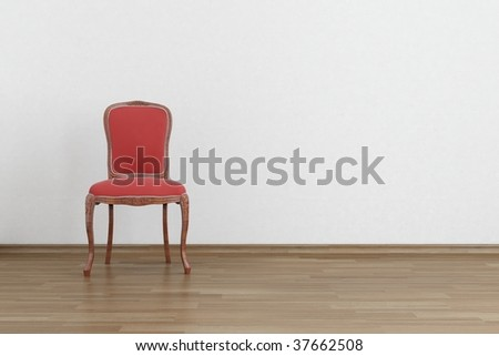 red baroque Chair to  face a blank white wall - with parquet - left side of view - stock photo
