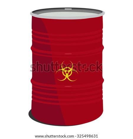 Red barrel toxic, radioactive, container, danger, toxic barrel - stock photo