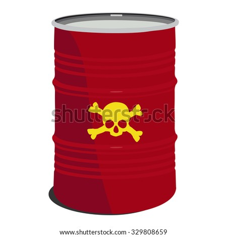 Red barrel toxic, radioactive, container, danger, toxic barrel - stock photo