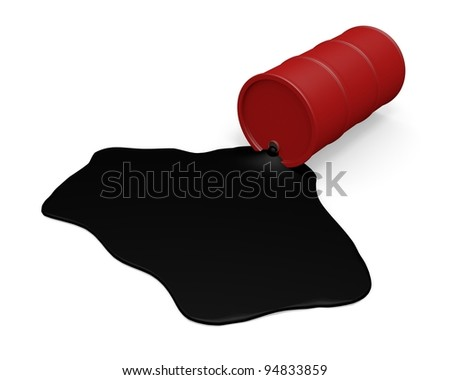Red Barrel with spilled oil over white background - stock photo