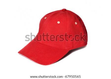 Red baseball cap isolated on white - stock photo