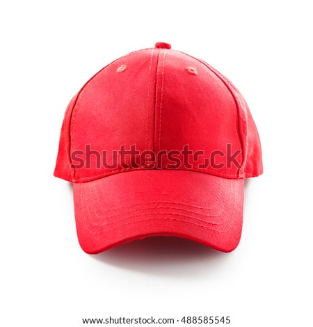 Red baseball cap isolated on white background. Sport hat. Single object with clipping path