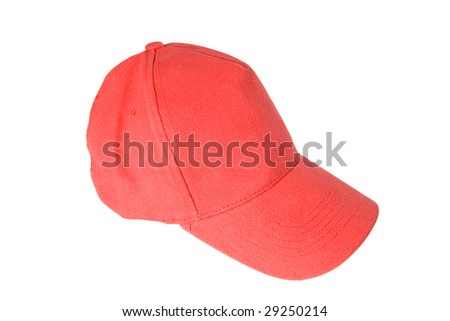 Red Baseball Cap on white ground
