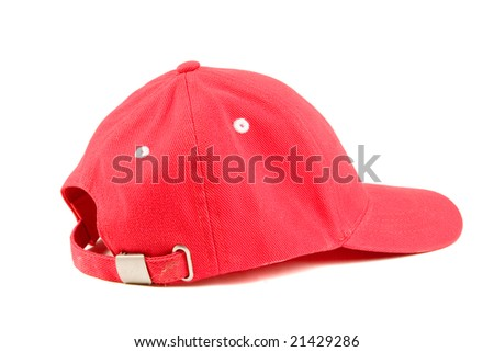 Red baseball hat on white ground - stock photo
