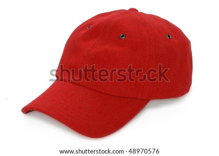 red baseball isolated hat - stock photo