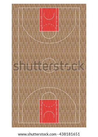 Red Basketball Court with Hardwood Texture - stock photo