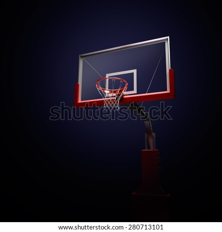 Red basketball houp in blue . 3d render illustration on black background - stock photo