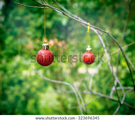 Red bauble - Christmas decoration - stock photo