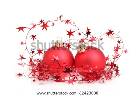 Red bauble with glitter star,Isolated on white.
