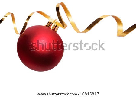 Red bauble with gold ribbon spirals - stock photo