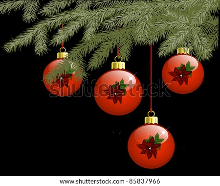 Red baubles with pointsietta hanging from pine needles
