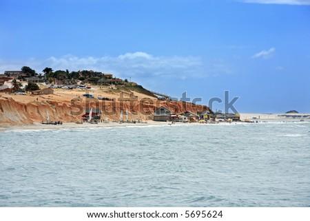 Red beach of Canoa quebrada in ceara state brazil - stock photo
