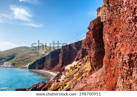 Red Beach on Santorini island, Greece. Beautiful landscape with sea view