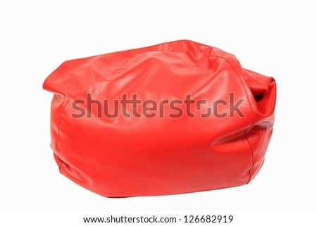 Red bean bag isolated on white background