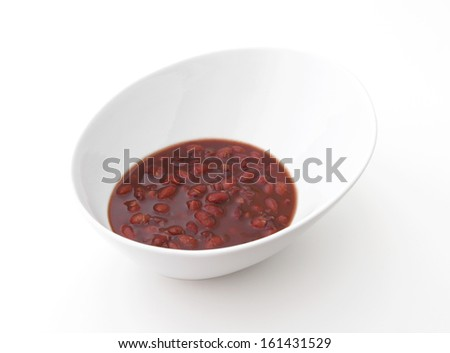 Red Bean Dessert in a bowl on a white background.  - stock photo