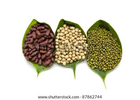 Red bean, Green bean, Soy bean - stock photo
