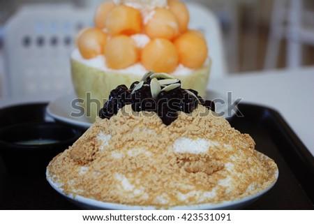 Red bean Ice cream or Bingsu,Dessert - stock photo